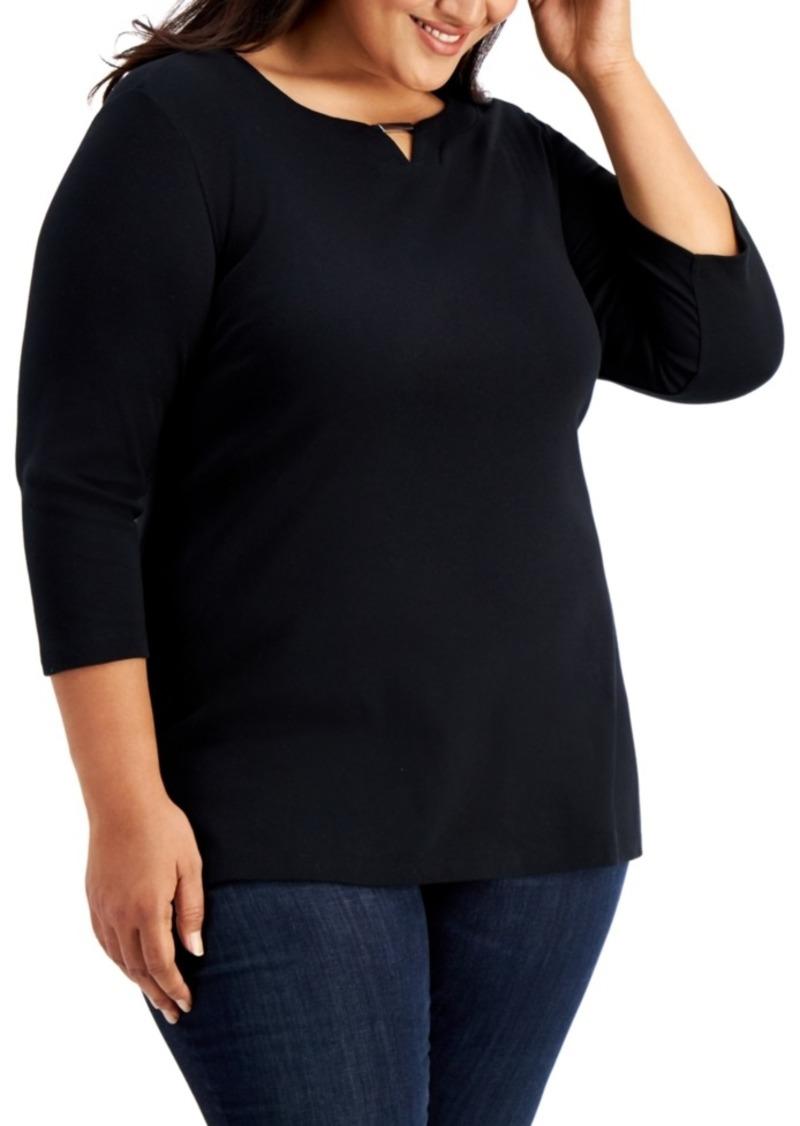 Karen Scott Plus Size 3/4-Sleeve Cotton Keyhole Top, Created for Macy's