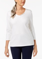 Karen Scott Cotton Embellished V-Neck Top, Created for Macy's