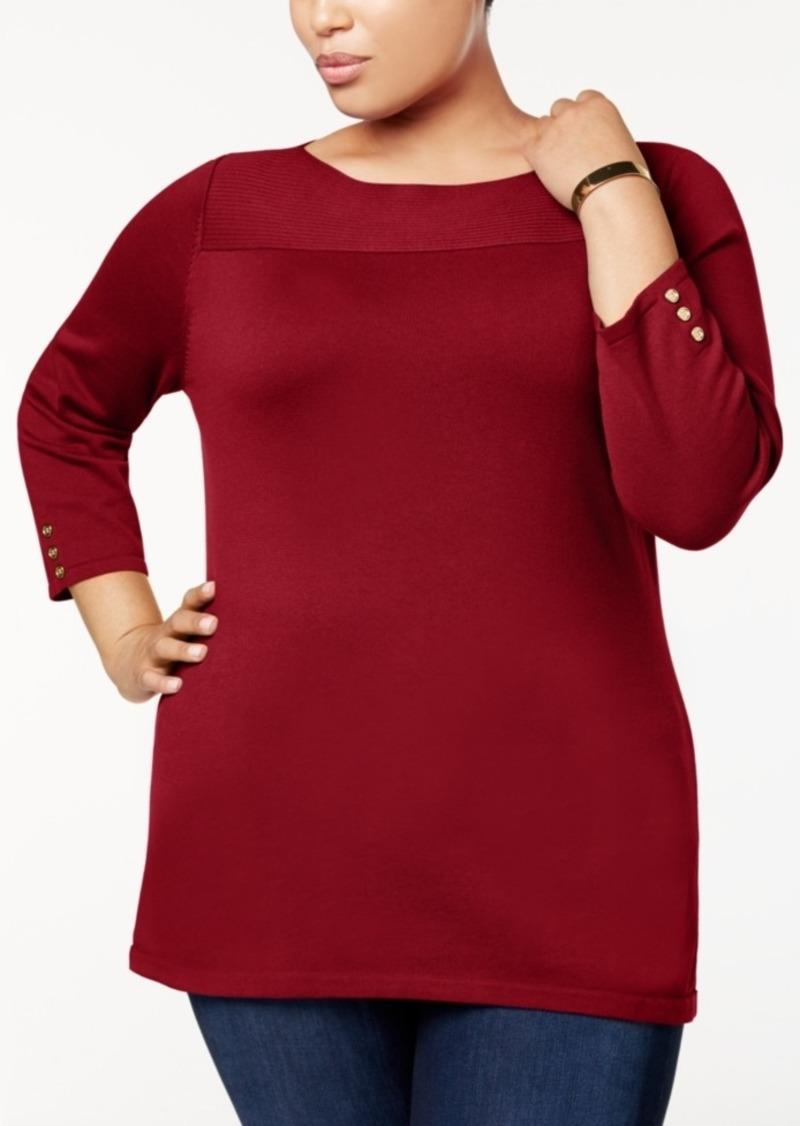 5743c58c0d4 Karen Scott Karen Scott Plus Size Cotton Boat-Neck Sweater