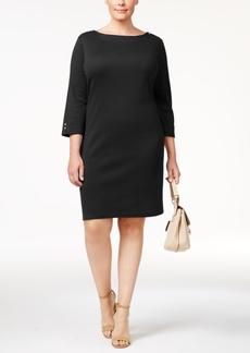 Karen Scott Plus Size Cotton Button-Detail Shift Dress, Created for Macy's