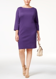 Karen Scott Plus Size Cotton Button-Detail Shift Dress, Created for Macy's