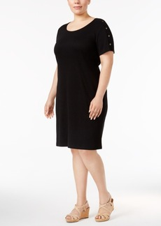 Karen Scott Plus Size Cotton Button-Shoulder Dress, Created for Macy's