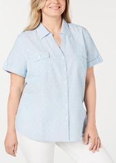 Karen Scott Plus Size Cotton Dot Utility Shirt, Created for Macy's