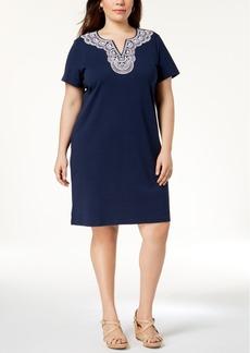 Karen Scott Plus Size Cotton Embellished Dress, Created for Macy's
