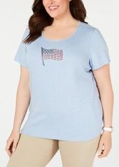 Karen Scott Plus Size Cotton Embellished-Flag T-Shirt, Created for Macy's