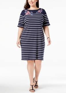 Karen Scott Plus Size Cotton Embroidered Striped Dress, Created for Macy's