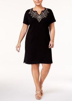 Karen Scott Plus Size Cotton Embroidered T-Shirt Dress, Only at Macy's