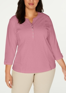 Karen Scott Plus Size Cotton Eyelet Henley Top, Created for Macy's