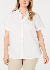Karen Scott Plus Size Cotton Eyelet Short-Sleeve Button-Up Shirt, Created for Macy's