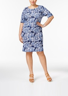 Karen Scott Plus Size Cotton Floral-Print T-Shirt Dress, Only at Macy's