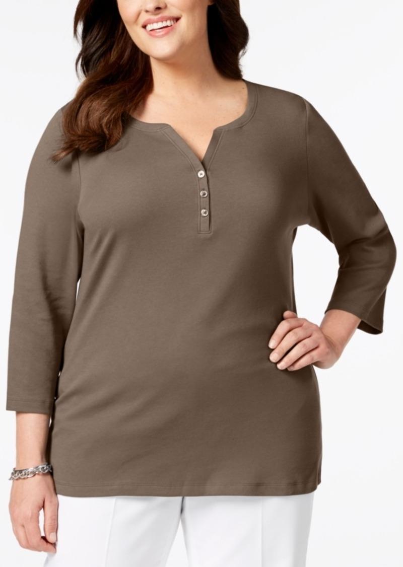 ffda218af8f88 Karen Scott Karen Scott Plus Size Cotton Henley Top