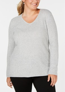 Karen Scott Plus Size Cotton Marled-Knit Sweater, Created for Macy's