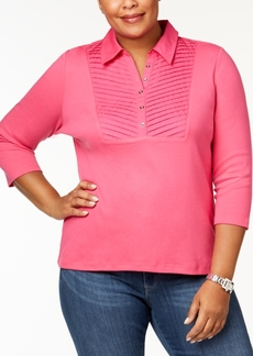 Karen Scott Plus Size Cotton Pleated Polo Top, Created for Macy's