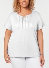 Karen Scott Plus Size Cotton Pleated Split-Neck Top, Created for Macy's
