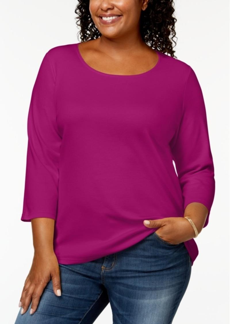 0004324705058 Karen Scott Karen Scott Plus Size Cotton Scoop-Neck Top