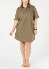 Karen Scott Plus Size Cotton Short-Sleeve Shirtdress, Created for Macy's