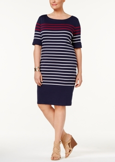 Karen Scott Plus Size Cotton Striped Shift Dress, Only at Macy's