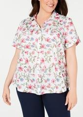 Karen Scott Plus Size Cotton Swiss-Dot Floral-Print Blouse, Created for Macy's