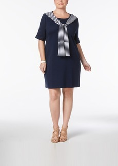 Karen Scott Plus Size Cotton Tie-Front T-Shirt Dress, Created for Macy's