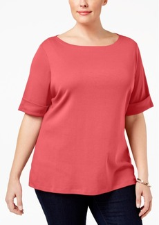 Karen Scott Plus Size Cuffed T-Shirt, Created for Macy's