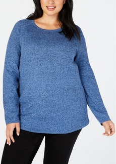 Karen Scott Plus Size Curved-Hem Cotton Sweater, Created for Macy's