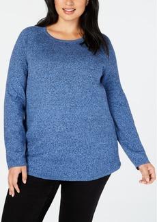 Karen Scott Plus Size Curved-Hem Cotton Sweater, Created for Macy's