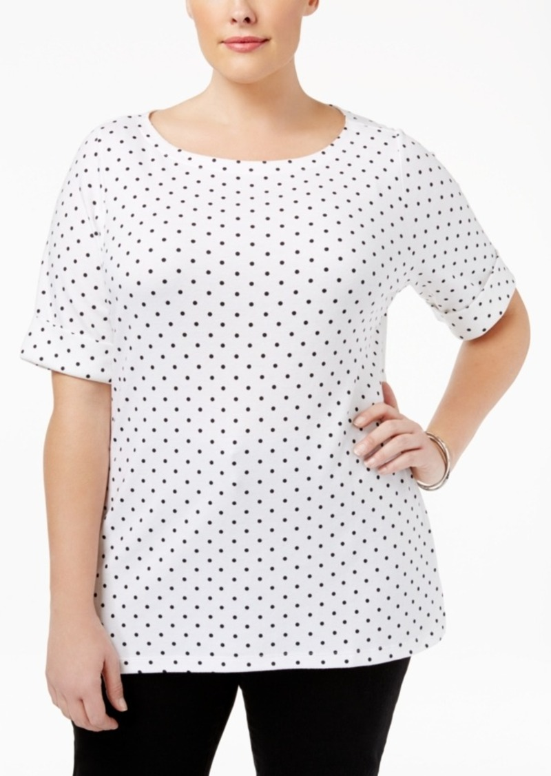 Karen Scott Plus Size Dot-Print Boat-Neck Top, Created for Macy's