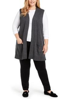 Karen Scott Plus Size Duster-Length Sweater Vest, Created For Macy's