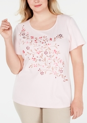Karen Scott Plus Size Embellished Cotton Top, Created for Macy's
