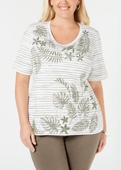 Karen Scott Plus Size Embellished Printed Cotton T-Shirt, Created for Macy's