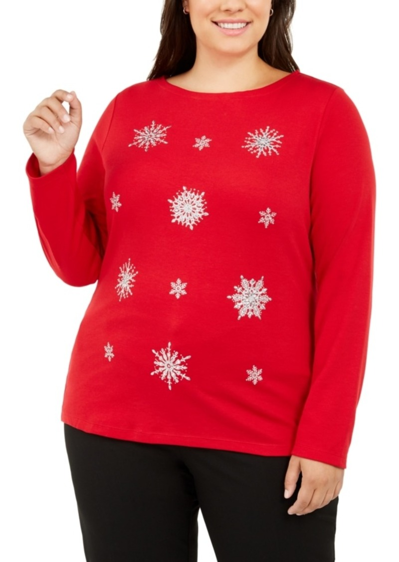 Karen Scott Plus Size Embellished Snowflake Top, Created For Macy's