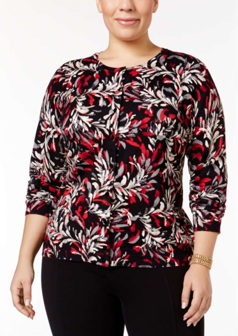 Karen Scott Plus Size Floral-Print Cardigan, Only at Macy's