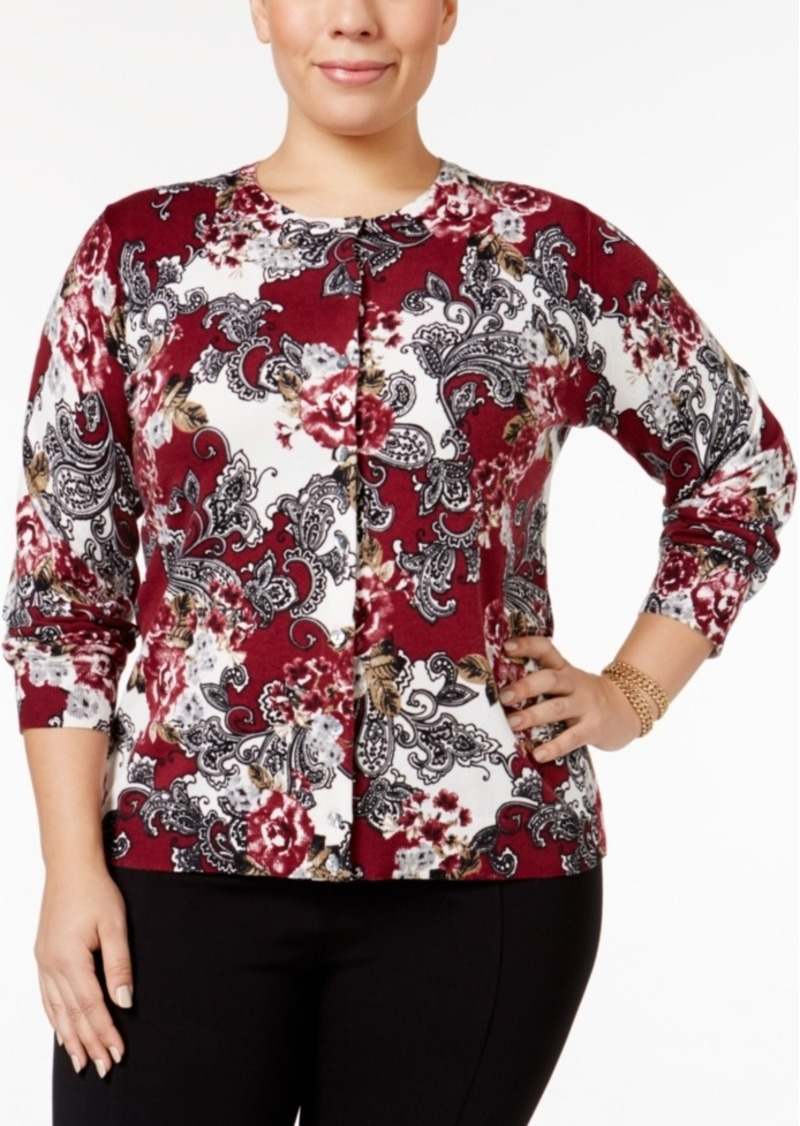 Karen Scott Plus Size Floral-Print Cardigan, Only at Macy's