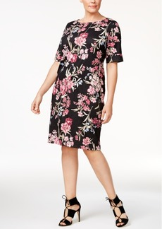Karen Scott Plus Size Floral-Print Shift Dress, Only at Macy's
