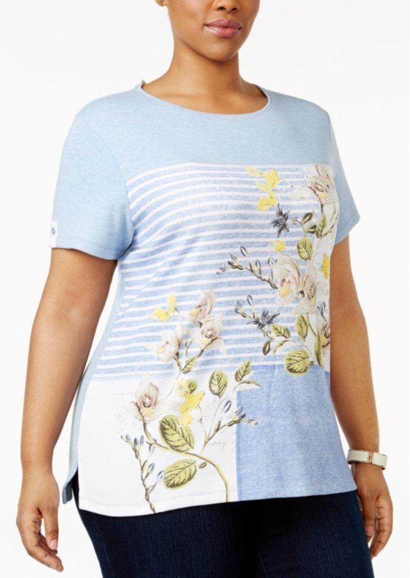 934799df1356a Karen Scott Karen Scott Plus Size Floral-Print Striped T-Shirt ...