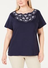 Karen Scott Plus Size Floral T-Shirt, Created for Macy's