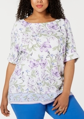 Karen Scott Plus Size Hibiscus Short-Sleeve Top, Created for Macy's