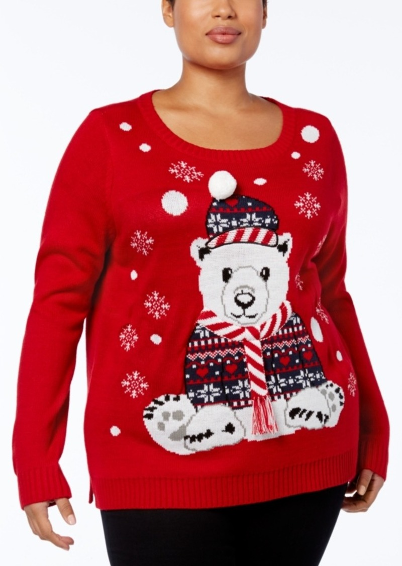 28ebddab89c2 Karen Scott Karen Scott Plus Size Holiday Polar Bear Sweater ...