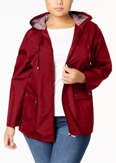 Karen Scott Plus Size Hooded Rain Jacket, Created for Macy's