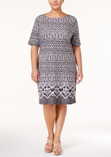 Karen Scott Plus Size Ikat-Print Boat-Neck Dress, Created for Macy's