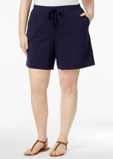 Karen Scott Plus Size Knit Shorts, Only at Macy's