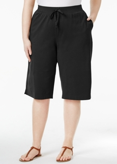 Karen Scott Plus Size Knit Skimmer Shorts, Only at Macy's