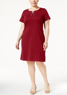 Karen Scott Plus Size Lace-Up Knit Dress, Only at Macy's
