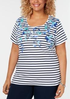 Karen Scott Plus Size Layla Legend Printed Top, Created for Macy's