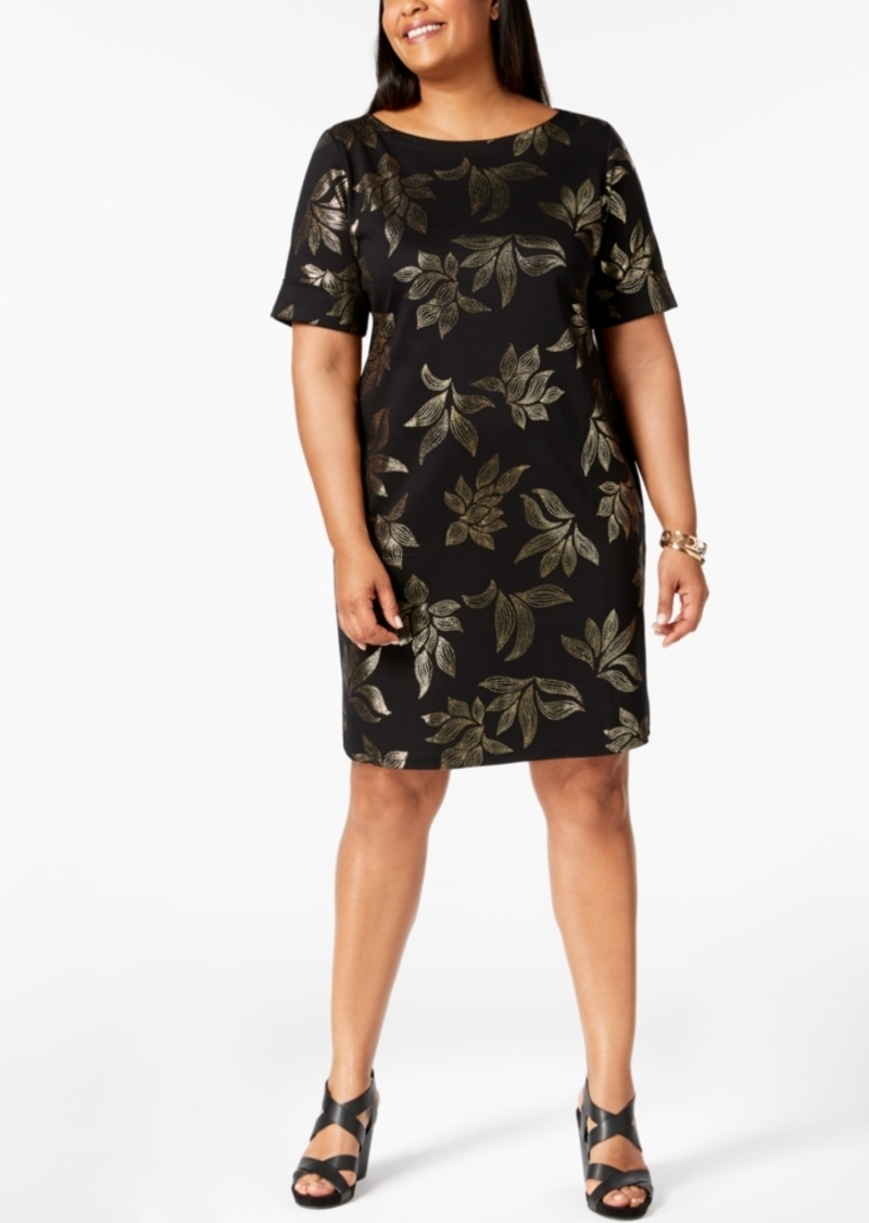f6226028270 Karen Scott Karen Scott Plus Size Metallic-Print T-Shirt Dress ...