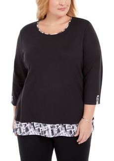 Karen Scott Plus Size Plaid-Trim Top, Created for Macy's