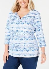 Karen Scott Plus Size Printed 3/4-Sleeve Henley Top, Created for Macy's