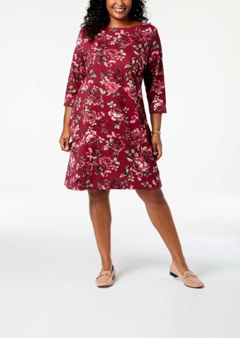 9c97e096e21c Karen Scott Karen Scott Plus Size Printed Boat-Neck Dress, Created ...