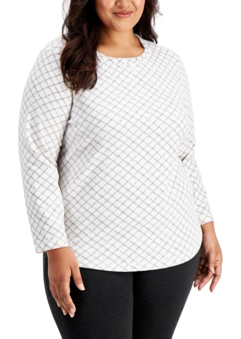 Karen Scott Plus Size Printed Fleece Top, Created for Macy's