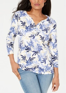 Karen Scott Plus Size Printed Henley Top, Created for Macy's